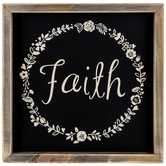 Faith Floral Wreath Wood Wall Decor